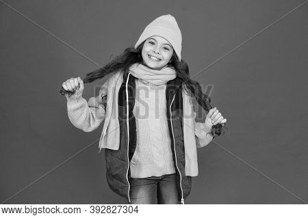 Adding Care To Your Hair. Happy Child With Long Hair. Small Girl Smile In Winter Style. Hair Salon.