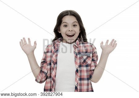 Pleasant Surprise. Kid Happy Loves Pleasant Surprises. Child Surprised Smile Isolated White Backgrou