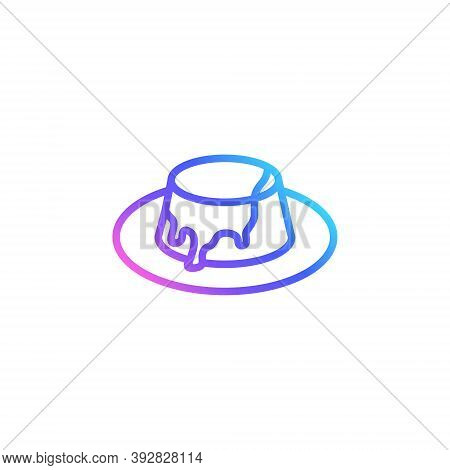 Toffee Pudding Vector Icon In Bright Color Gradient. Cute Pudding With Sauce Isolated On White Backg