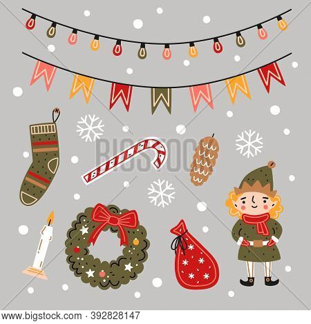 Christmas Set. Flat Vector Illustration. Christmas Elf, Advent Wreath, Bag With Gifts, Candle, Stock