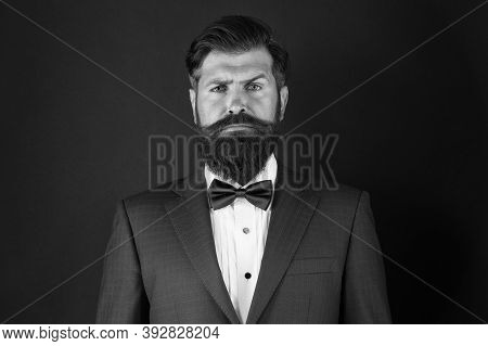 Make Male Grooming Simpler And More Enjoyable. Well Groomed Man Beard In Suit. Male Fashion And Aest