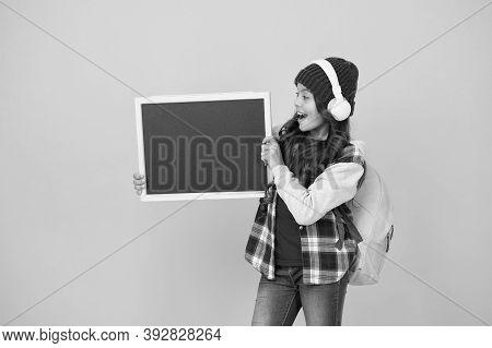 Creative School. Happy Child Hold School Blackboard. Little Girl Back To School. Primary Schoolchild