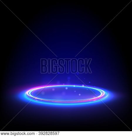 Glow Neon Circle. Blue Glowing Ring On Floor. Abstract Hi-tech Background For Display Product. Vecto