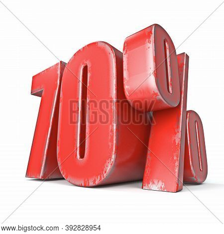 Metal Red Colored Grunge 70 Percent Sign 3d Render Illustration Isolated On White Background