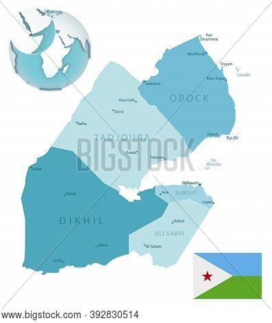 Djibouti Administrative Blue-green Map With Country Flag And Location On A Globe.