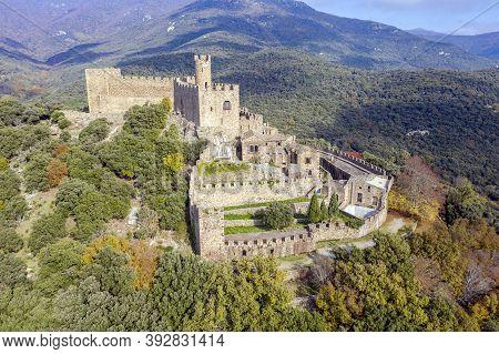 Castle Requesens Peak Neulos Albera Massif Girona Spain.