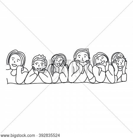 Hand Drawn Of Several Children Lined Up. Children Day Concept