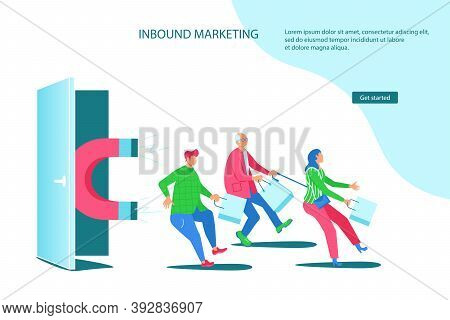 Landing Webpage Template Of Inbound Marketing. Sales Offers Attract Different Buyers With A Huge Mag