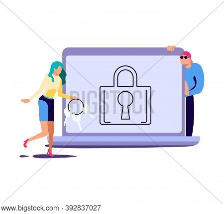 Concept Of Cyber Attack And Phishing Scam. Digital Thiefs Steals Money Or Password, Private Personal
