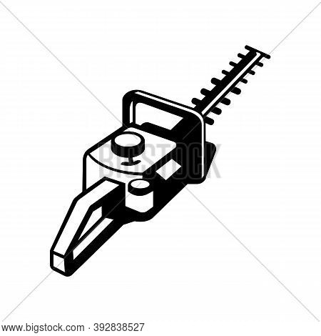 Mascot Illustration Of A Hedge Trimmer Or Hedge Cutter Viewed From A High Angle On Isolated Backgrou