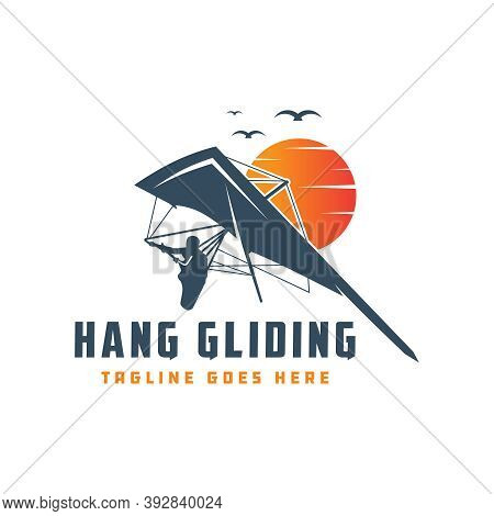 Hang Gliding Flying Sports Logo Design Or Brand