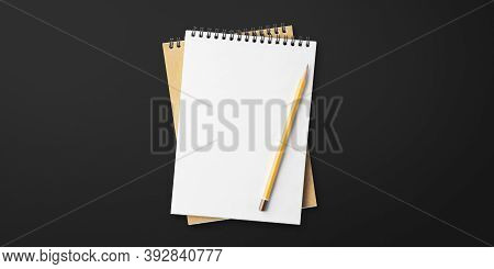 Notepad On Black Background, Spiral Notepad On Table, To Do List, Flat Lay Pencil With Notebook