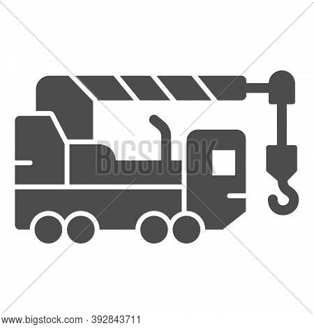 Heavy Duty Truck Solid Icon, Heavy Equipment Concept, Crane Truck Sign On White Background, Equipmen