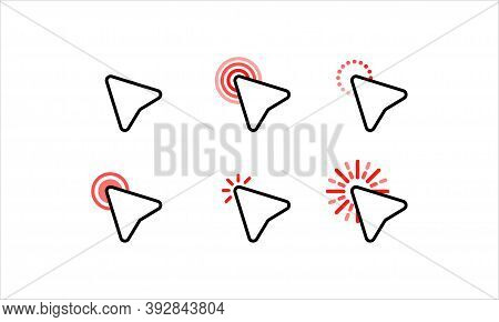 Computer Mouse Click Cursor Arrow Icons Set. Waiting, Loading. Target Clicks, Arrow Icons. Pointer I