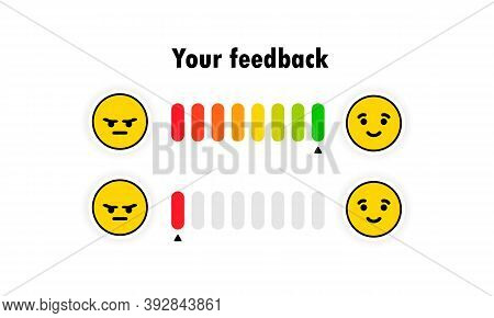 Emotion Feedback Scale. Angry, Sad, Neutral, Satisfied And Happy Emoticon Set. Review Of Consumer. R