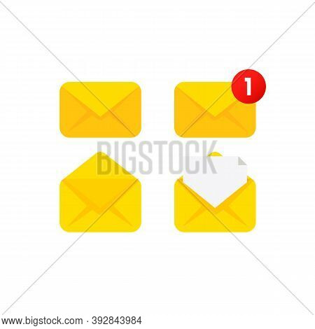 Envelope Flat Vector Icon Set. Document Enclosed In Envelope, Closed And Open Envelope With Message.