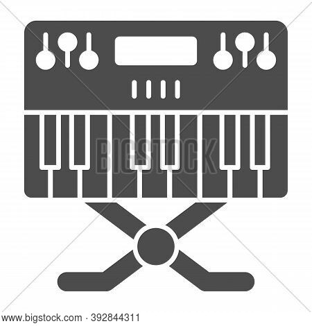 Synthesizer Solid Icon, Sound Design Concept, Synth Sign On White Background, Music Synthesizer Icon