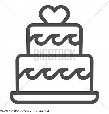 Two Tiered Cake With Heart Line Icon, Birthday Cupcake Concept, Wedding Cake Sign On White Backgroun