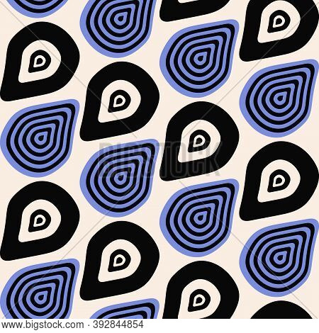 Scandinavian Seamless Pattern With Abstract Shapes On Beige Background. Trendy Abstract Background W