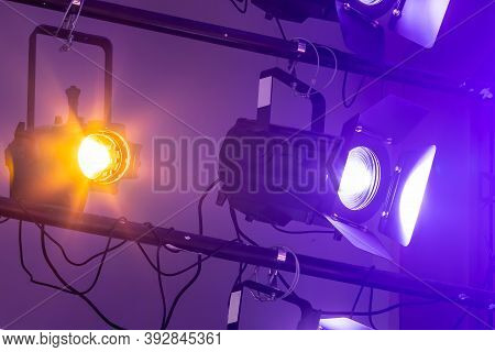 The Ceiling Of The Theatrical Scene With Multi-colored Lighting Equipment. Stage Lighting.white Proj