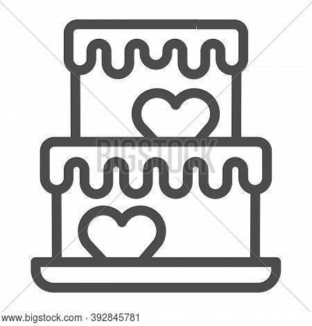 Two Tiered Cake With Hearts Line Icon, Birthday Cupcake Concept, Wedding Cake Sign On White Backgrou