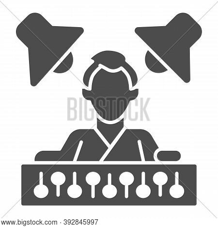 Sound Engineer With Mixer And Monitors Solid Icon, Sound Design Concept, Sound Engineering Sign On W