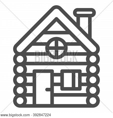 Old Wooden House Line Icon, Christmas Concept, Timbered And Wood Home Sign On White Background, Rura