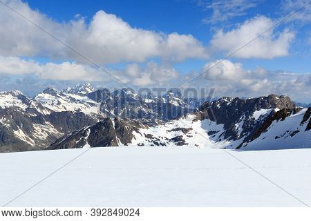 Mountain Snow Panorama On Glacier Taschachferner In Tyrol Alps, Austria