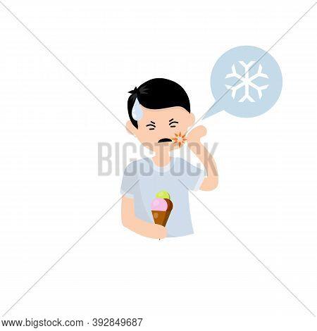 Tooth Sensitivity. Man And Ice Cream. Pain In Cheek And Cold. Sad Boy. Cartoon Flat Illustration. So