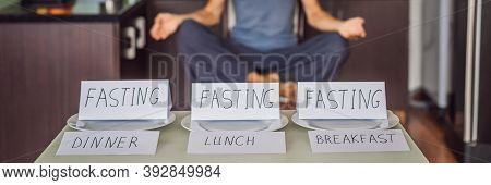 The Man Is Engaged In Intermittent Fasting For Health.. Intermittent Fasting Concept, Top View Banne
