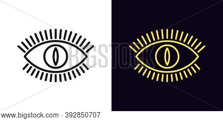 Outline Devil Eye Icon With Editable Stroke. Linear Eye Sign With Monster Iris, Evil Vision. Mystic