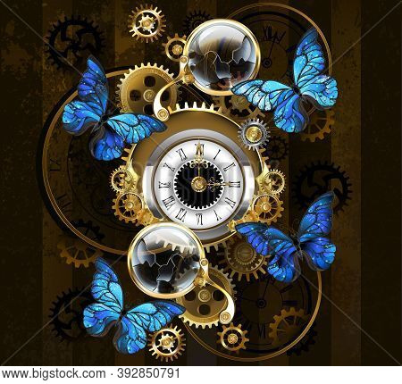 Composition Of Round Steampunk Clock With Black Roman Numeral Dial, Decorated With Gold And Brass Ge