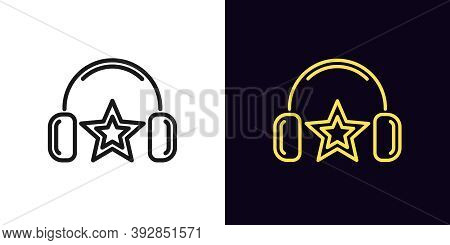 Outline Music Star Icon. Linear Dj Star With Headphones, Fashion Superstar With Editable Stroke. Mus