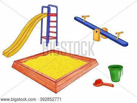 Playground Set Of Objects Slide, Swing, Sandbox, Bucket, Scoop. Illustration On White Background.