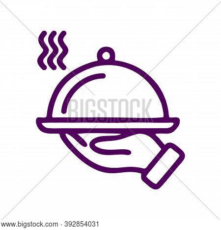 Restaurant Food Line Icon. Dinner Sign. Hotel Room Service Symbol. Quality Design Element. Linear St