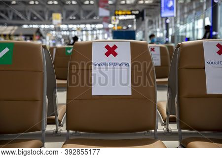 Seat On Public In Public With Signs Social Distancing Protect For One Seat Keep Distance To Protecti