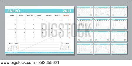 Planner 2021 Year. Spanish Calendar Template. Week Starts Monday. Vector. Table Schedule Grid. Yearl