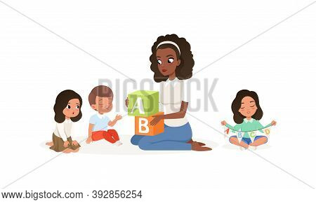 Young Woman Holding Abc Blocks And Teaching Kid Alphabet Letters Vector Illustration
