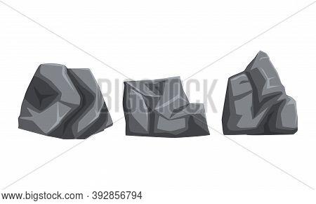 Rocky Grey Stones And Heavy Uneven Boulder Vector Set