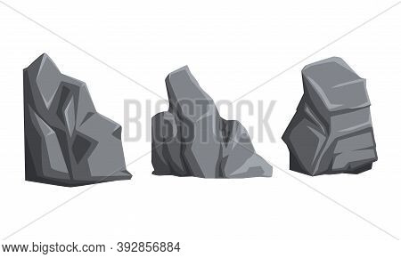 Rough Stones And Heavy Uneven Boulder Vector Set