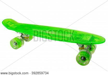 Skateboard With Green Plastic Board And Green Wheels, On White Background