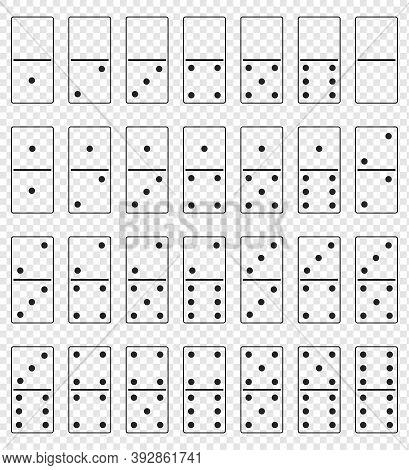 Realistic Domino Full Set Isolated On Transparent Background. Dominoes Bones Art Design. Vector Illu