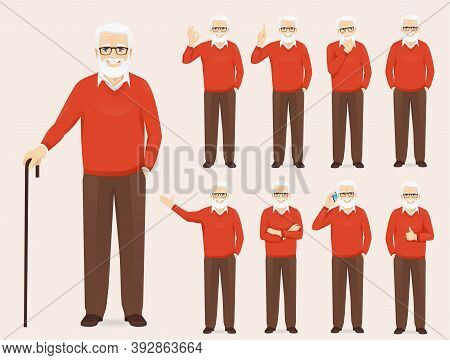 Handsome Senior Man In Casual Outfit Set With Different Gestures Isolated Vector Illustration