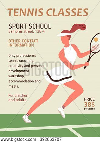 Colorful Vertical Announcement For Tennis Classes Or School With Sportswoman Holding Racquet. Advert