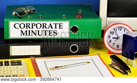 Corporate Protocols. Text Label On The Folder Office Of The Registrar. Documents That Record The Eve