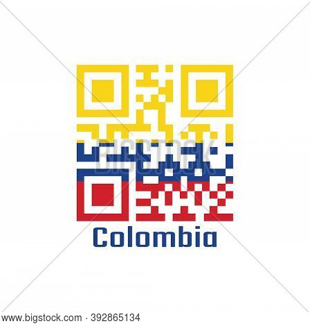 Qr Code Set The Color Of Colombia Flag. A Horizontal Tricolor Of Yellow (double-width), Blue And Red