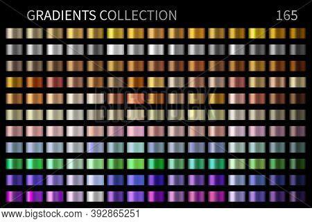 Vector Gradients Collection. Gold, Golden, Silver, Bronze, Copper, Chrome, Violet, Purple Colors Gra