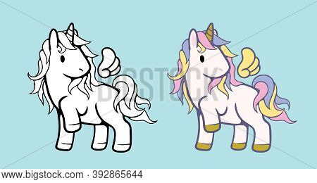 White Unicorn Vector Icon For Children Design Isolated. Portrait White Horse With Rainbow Hair. Cute
