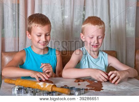 Two Boys Making Cookies
