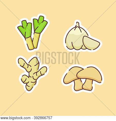 Vegetable Icons Set Collection Leek Garlic Ginger Mushroom Flavor Taste Organic Fresh With Color Fla